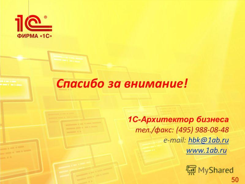 50 Спасибо за внимание! 1С-Архитектор бизнеса тел./факс: (495) 988-08-48 e-mail: hbk@1ab.ruhbk@1ab.ru www.1ab.ru