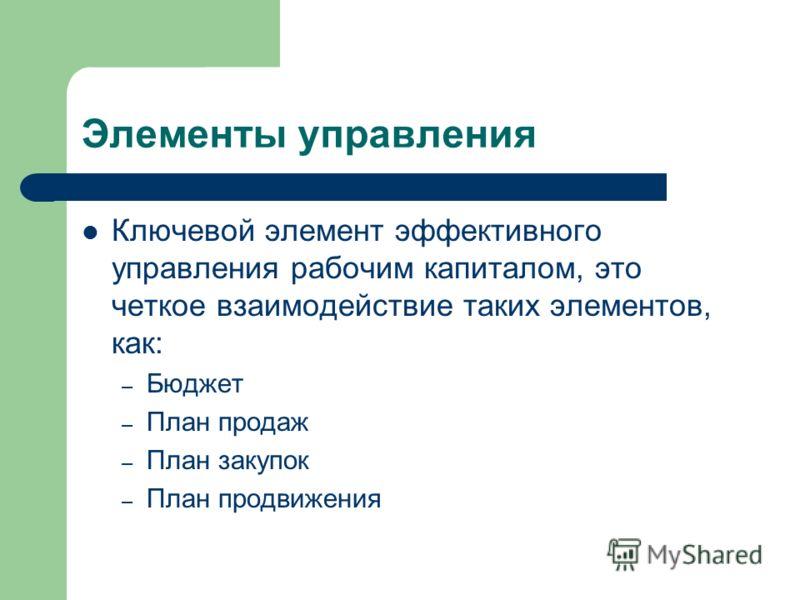 Элементы управления Ключевой элемент эффективного управления рабочим капиталом, это четкое взаимодействие таких элементов, как: – Бюджет – План продаж – План закупок – План продвижения