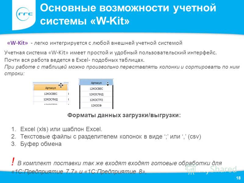 18 «W-Kit» - легко интегрируется с любой внешней учетной системой Учетная система «W-Kit» имеет простой и удобный пользовательский интерфейс. Почти вся работа ведется в Excel- подобных таблицах. При работе с таблицей можно произвольно переставлять ко