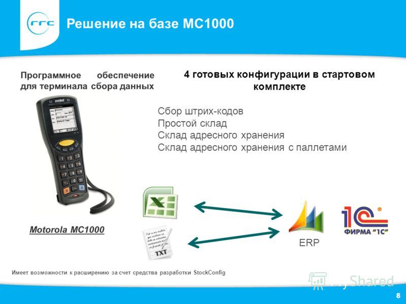 8 Решение на базе MC1000 8 4 готовых конфигурации в стартовом комплекте Сбор штрих-кодов Простой склад Склад адресного хранения Склад адресного хранения с паллетами ERP Имеет возможности к расширению за счет средства разработки StockConfig