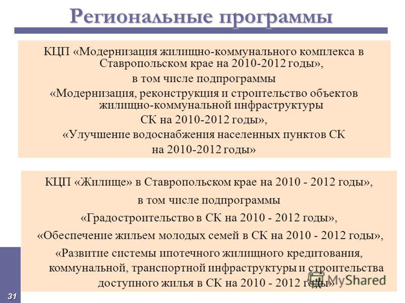 31 КЦП «Жилище» в Ставропольском крае на 2010 - 2012 годы», в том числе подпрограммы «Градостроительство в СК на 2010 - 2012 годы», «Обеспечение жильем молодых семей в СК на 2010 - 2012 годы», «Развитие системы ипотечного жилищного кредитования, комм