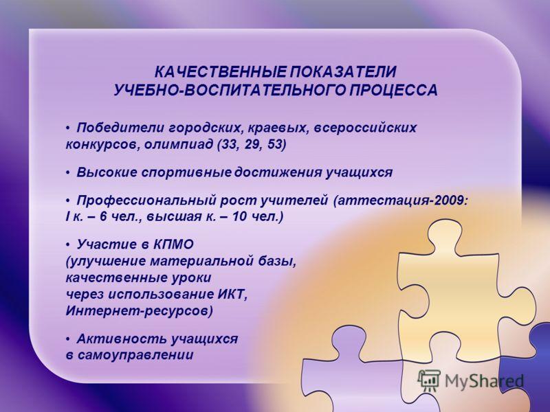 КАЧЕСТВЕННЫЕ ПОКАЗАТЕЛИ УЧЕБНО-ВОСПИТАТЕЛЬНОГО ПРОЦЕССА Победители городских, краевых, всероссийских конкурсов, олимпиад (33, 29, 53) Высокие спортивные достижения учащихся Профессиональный рост учителей (аттестация-2009: I к. – 6 чел., высшая к. – 1