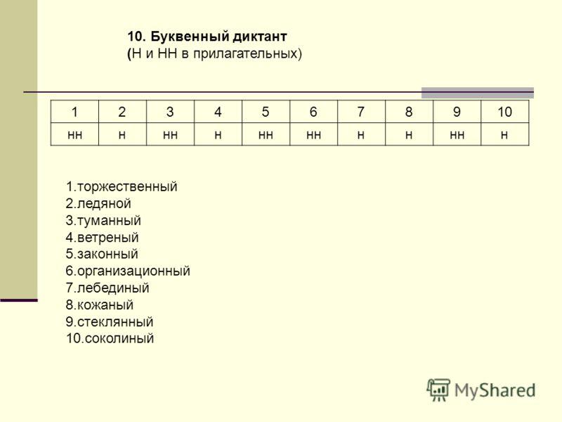 10. Буквенный диктант (Н и НН в прилагательных) 12345678910 ннн н нн н 1.торжественный 2.ледяной 3.туманный 4.ветреный 5.законный 6.организационный 7.лебединый 8.кожаный 9.стеклянный 10.соколиный