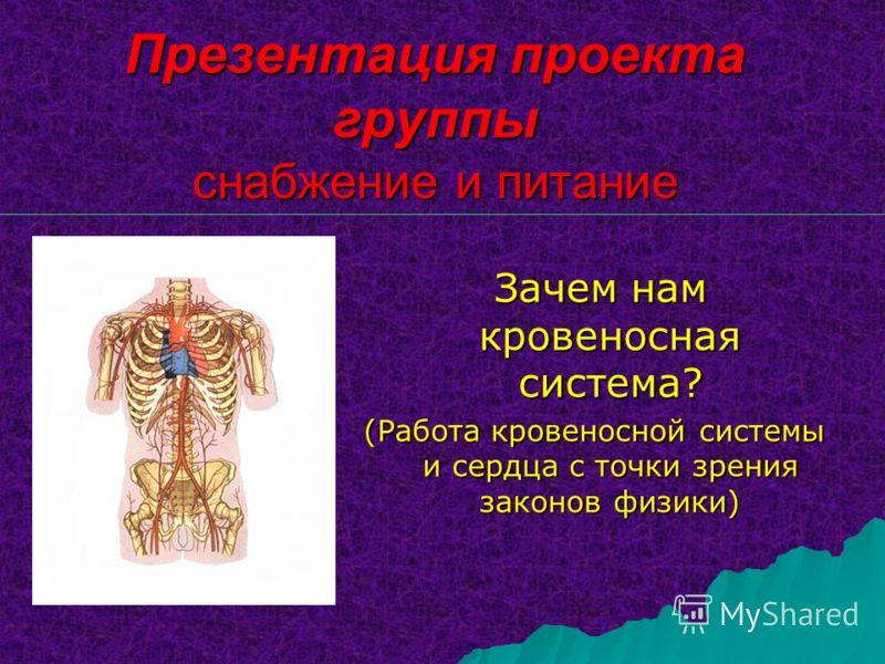 Презентация проекта группы снабжение и питание Зачем нам кровеносная система? Зачем нам кровеносная система? (Работа кровеносной системы и сердца с точки зрения законов физики)