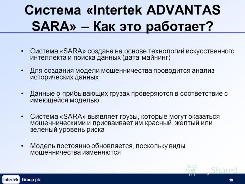 18 Система «Intertek ADVANTAS SARA» – Как это работает? Система «SARA» создана на основе технологий искусственного интеллекта и поиска данных (дата-майнинг) Для создания модели мошенничества проводится анализ исторических данных Данные о прибывающих