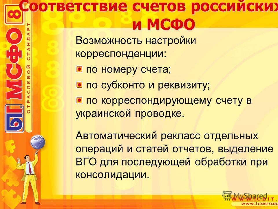 Возможность настройки корреспонденции: по номеру счета; по субконто и реквизиту; по корреспондирующему счету в украинской проводке. Автоматический рекласс отдельных операций и статей отчетов, выделение ВГО для последующей обработки при консолидации.