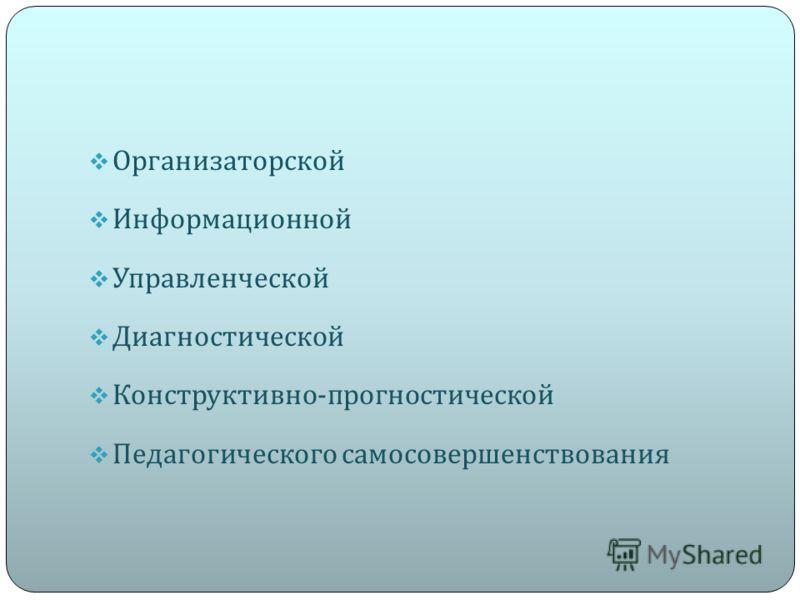 Организаторской Информационной Управленческой Диагностической Конструктивно - прогностической Педагогического самосовершенствования