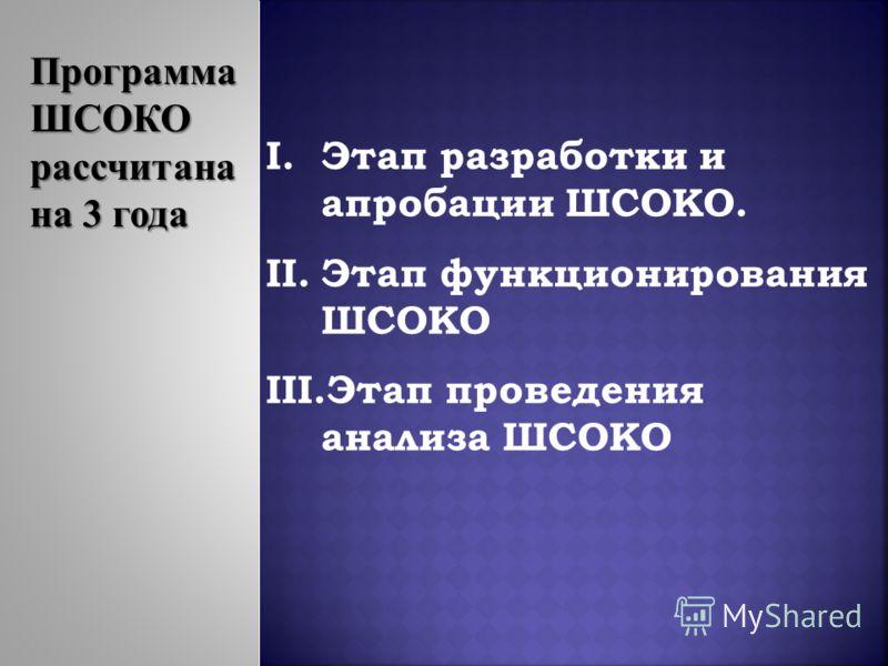 I.Этап разработки и апробации ШСОКО. II.Этап функционирования ШСОКО III.Этап проведения анализа ШСОКО Программа ШСОКО рассчитана на 3 года