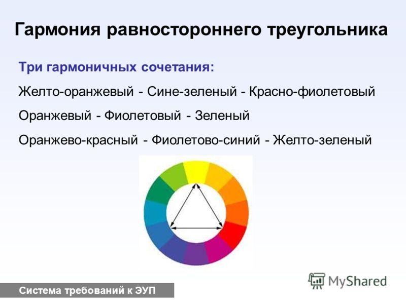 Система требований к ЭУП Гармония равностороннего треугольника Три гармоничных сочетания: Желто-оранжевый - Сине-зеленый - Красно-фиолетовый Оранжевый - Фиолетовый - Зеленый Оранжево-красный - Фиолетово-синий - Желто-зеленый
