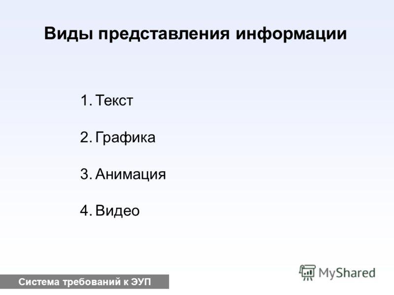 Система требований к ЭУП Виды представления информации 1.Текст 2.Графика 3.Анимация 4.Видео