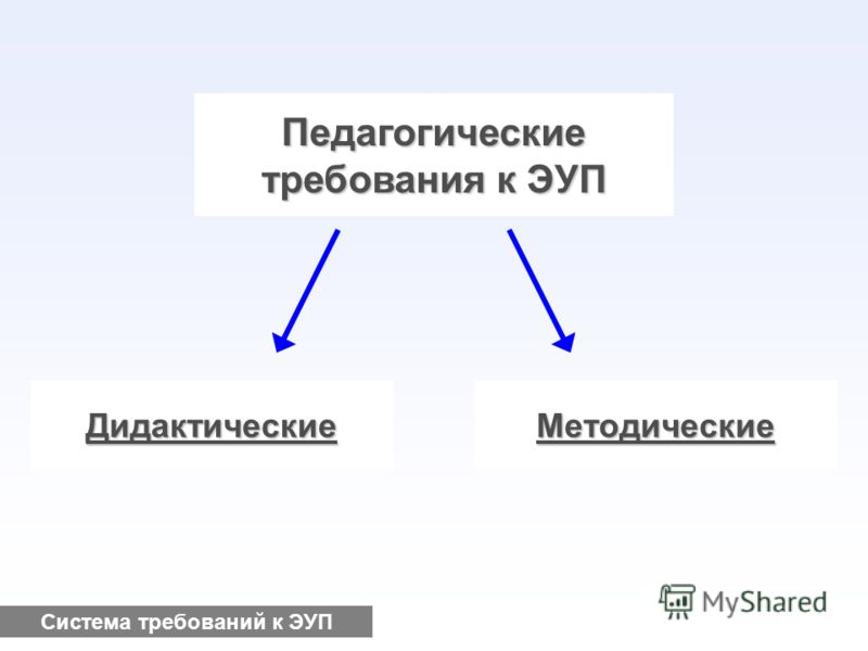 Педагогические требования к ЭУП ДидактическиеМетодические Система требований к ЭУП