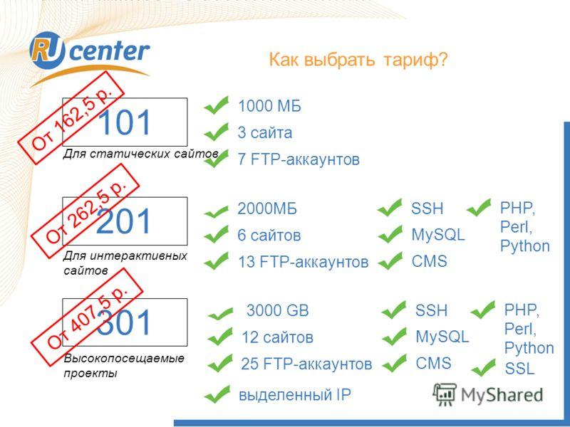 Как выбрать Тариф? 101 Как выбрать тариф? 1000 МБ3 сайта7 FTP-аккаунтов Для статических сайтов 201 Для интерактивных сайтов 2000МБ 6 сайтов13 FTP-аккаунтовSSH MySQLCMS PHP, Perl, Python 301 Высокопосещаемые проекты 3000 GB 12 сайтов25 FTP-аккаунтовSS