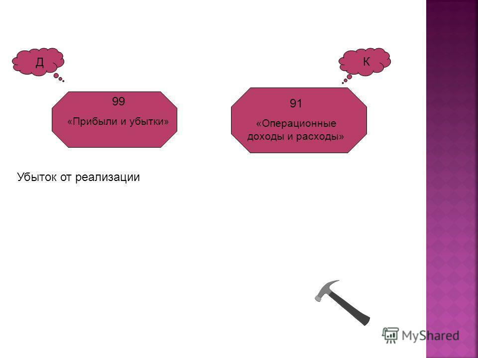 К Д 99 « Прибыли и убытки » 91 «Операционные доходы и расходы» Убыток от реализации