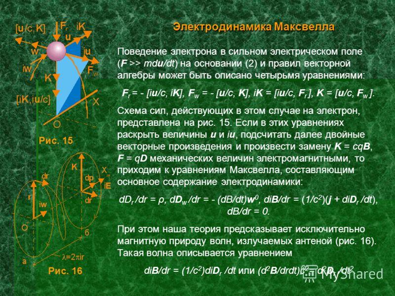 Электродинамика Максвелла Поведение электрона в сильном электрическом поле (F >> mdu/dt) на основании (2) и правил векторной алгебры может быть описано четырьмя уравнениями: F r = - [iu/c, iK], F w = - [u/c, K], iK = [iu/c, F r ], K = [u/c, F w ]. Сх