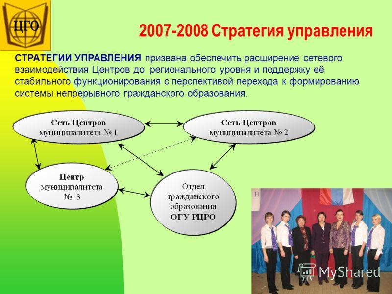 2007-2008 Стратегия управления СТРАТЕГИИ УПРАВЛЕНИЯ призвана обеспечить расширение сетевого взаимодействия Центров до регионального уровня и поддержку её стабильного функционирования с перспективой перехода к формированию системы непрерывного граждан