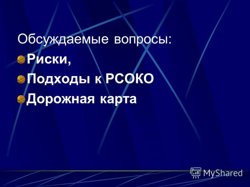 Обсуждаемые вопросы: Риски, Подходы к РСОКО Дорожная карта