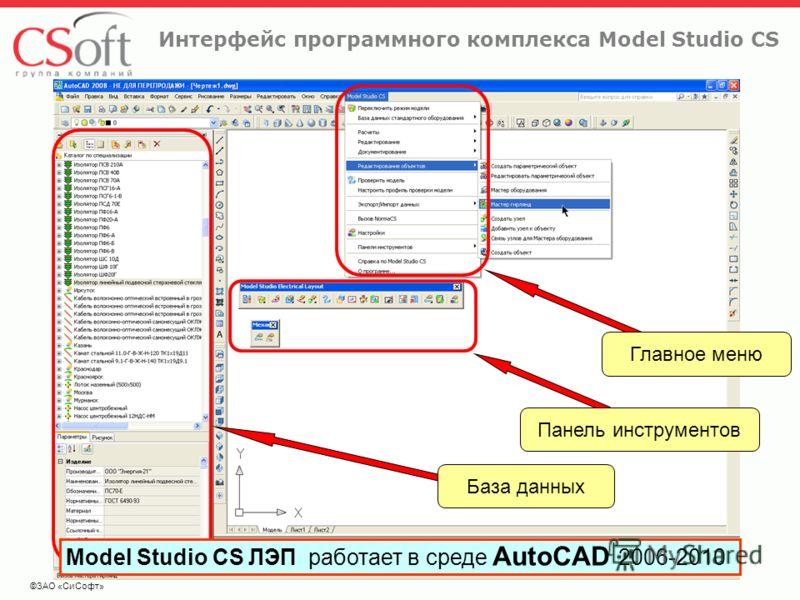 ©ЗАО «СиСофт» Интерфейс программного комплекса Model Studio CS База данных Панель инструментов Главное меню Model Studio CS ЛЭП работает в среде AutoCAD 2006-2010