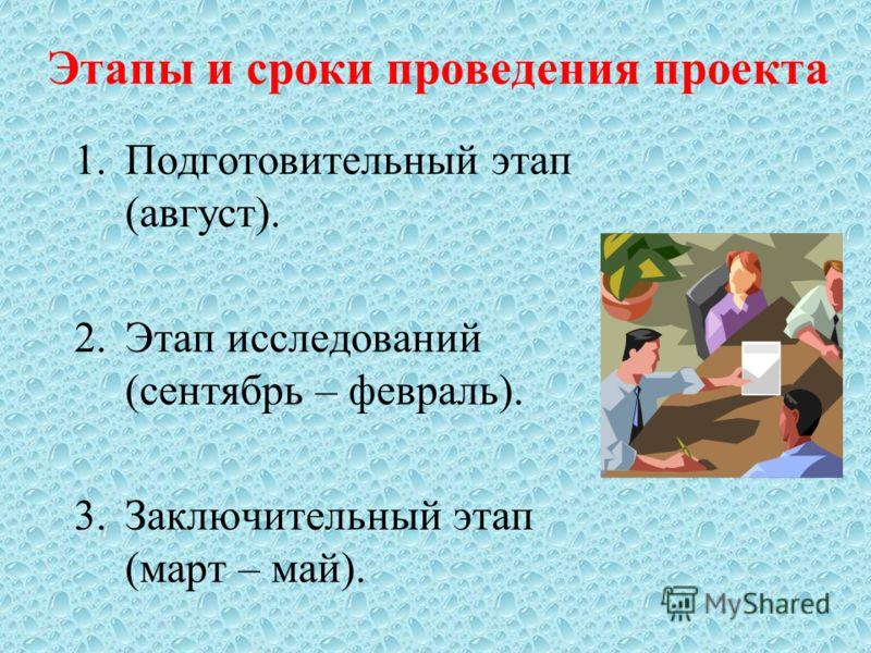 Этапы и сроки проведения проекта 1.Подготовительный этап (август). 2.Этап исследований (сентябрь – февраль). 3.Заключительный этап (март – май).