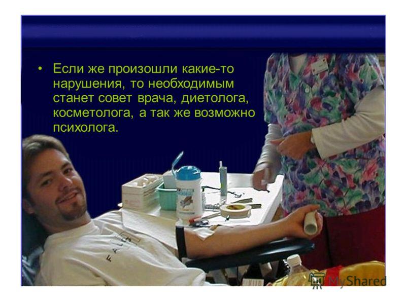 Если же произошли какие-то нарушения, то необходимым станет совет врача, диетолога, косметолога, а так же возможно психолога.