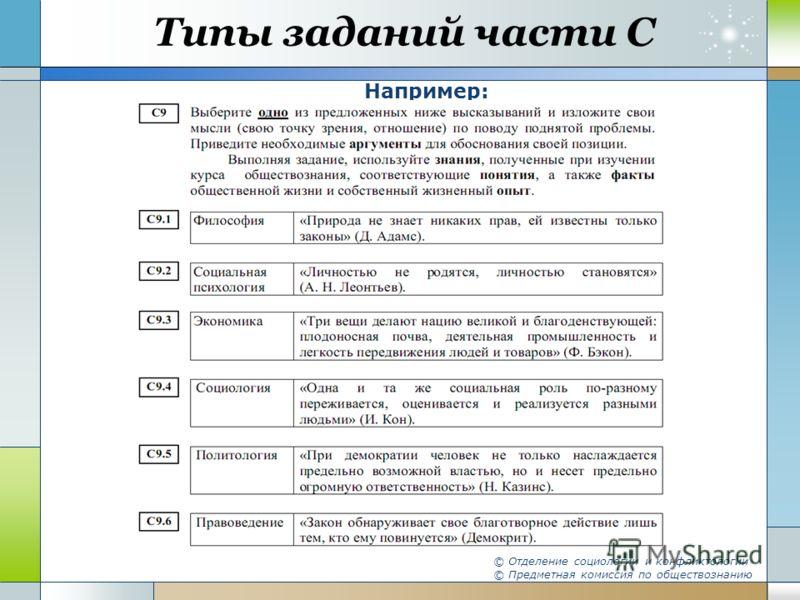 Типы заданий части С Например: © Отделение социологии и конфликтологии © Предметная комиссия по обществознанию