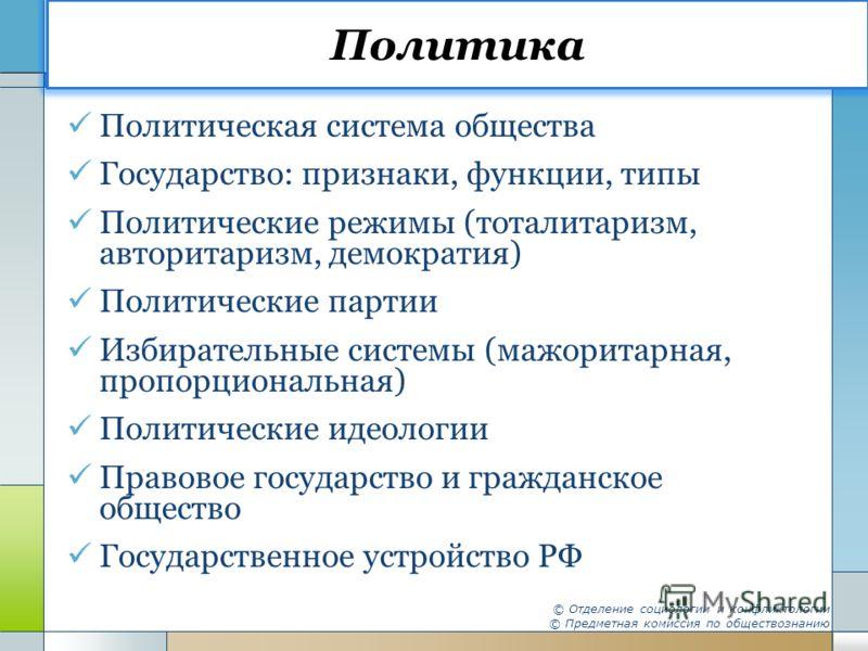 Политика Политическая система общества Государство: признаки, функции, типы Политические режимы (тоталитаризм, авторитаризм, демократия) Политические партии Избирательные системы (мажоритарная, пропорциональная) Политические идеологии Правовое госуда