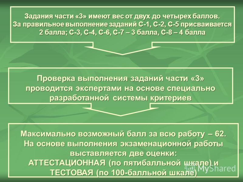 Задания части «3» имеют вес от двух до четырех баллов. За правильное выполнение заданий С-1, С-2, С-5 присваивается 2 балла; С-3, С-4, С-6, С-7 – 3 балла, С-8 – 4 балла Проверка выполнения заданий части «3» проводится экспертами на основе специально