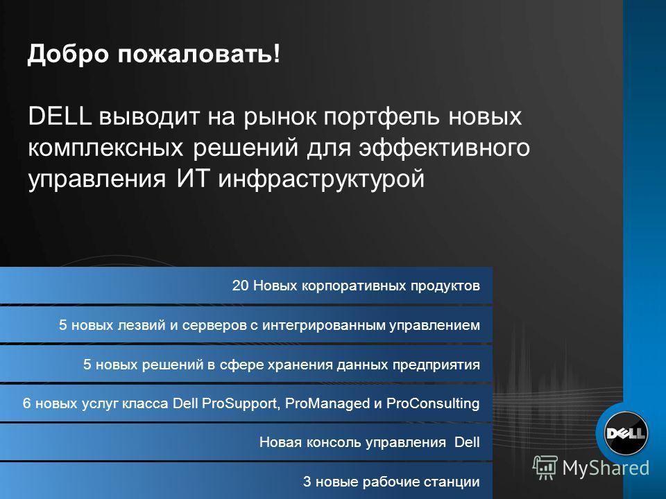20 Новых корпоративных продуктов 5 новых лезвий и серверов с интегрированным управлением 5 новых решений в сфере хранения данных предприятия 6 новых услуг класса Dell ProSupport, ProManaged и ProConsulting Новая консоль управления Dell 3 новые рабочи