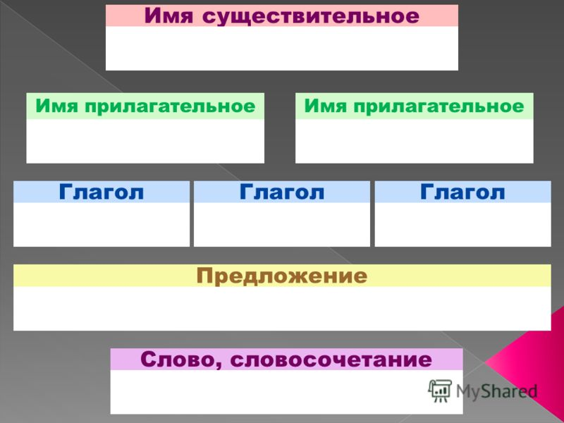 Имя существительное Имя прилагательное Глагол Предложение Слово, словосочетание