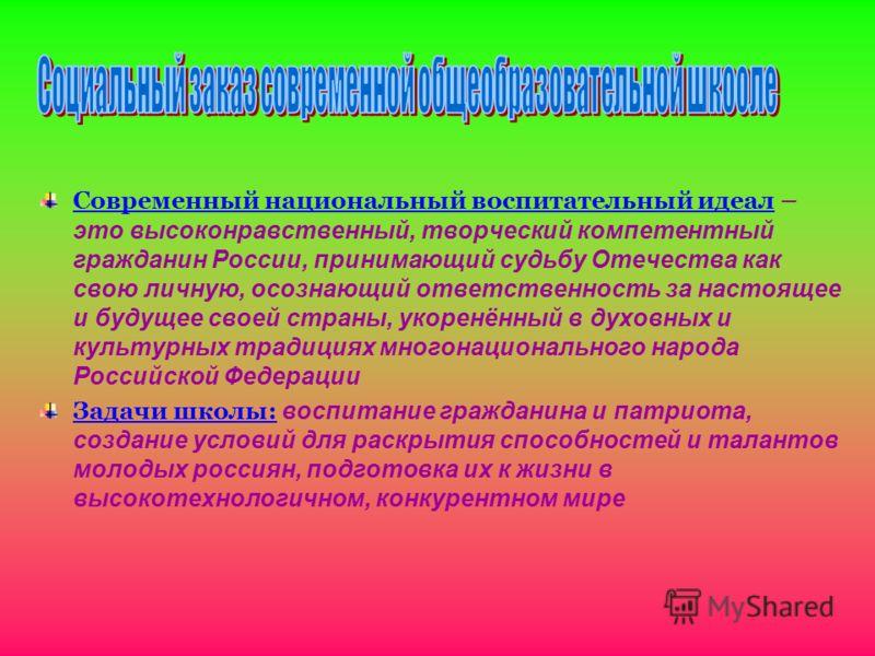 Современный национальный воспитательный идеал – это высоконравственный, творческий компетентный гражданин России, принимающий судьбу Отечества как свою личную, осознающий ответственность за настоящее и будущее своей страны, укоренённый в духовных и к
