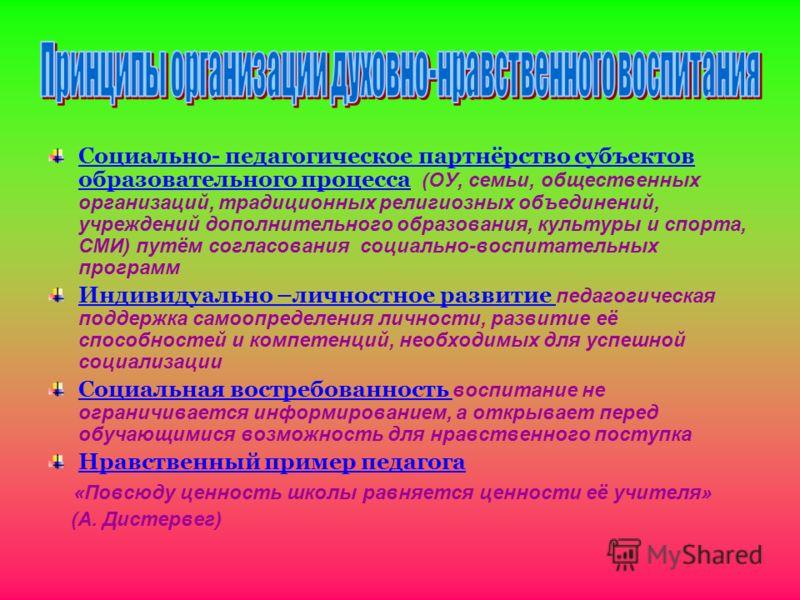 Социально- педагогическое партнёрство субъектов образовательного процесса (ОУ, семьи, общественных организаций, традиционных религиозных объединений, учреждений дополнительного образования, культуры и спорта, СМИ) путём согласования социально-воспита