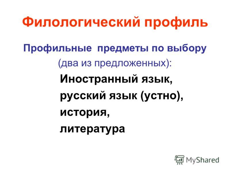 Филологический профиль Профильные предметы по выбору (два из предложенных): Иностранный язык, русский язык (устно), история, литература