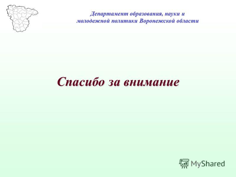 Спасибо за внимание Департамент образования, науки и молодежной политики Воронежской области