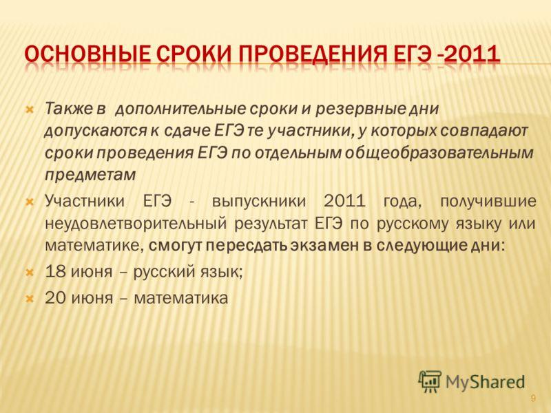 Также в дополнительные сроки и резервные дни допускаются к сдаче ЕГЭ те участники, у которых совпадают сроки проведения ЕГЭ по отдельным общеобразовательным предметам Участники ЕГЭ - выпускники 2011 года, получившие неудовлетворительный результат ЕГЭ