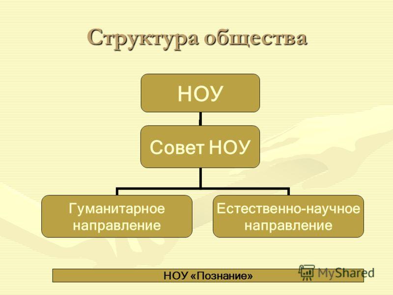 Структура общества НОУ «Познание» НОУ Гуманитарное направление Естественно- научное направление Совет НОУ