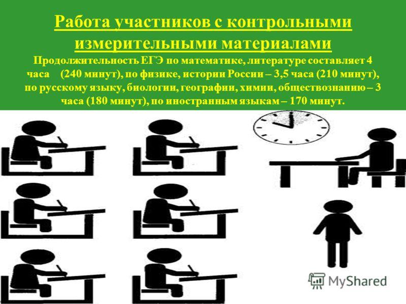Работа участников с контрольными измерительными материалами Продолжительность ЕГЭ по математике, литературе составляет 4 часа (240 минут), по физике, истории России – 3,5 часа (210 минут), по русскому языку, биологии, географии, химии, обществознанию