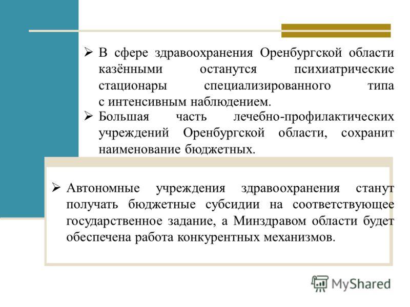В сфере здравоохранения Оренбургской области казёнными останутся психиатрические стационары специализированного типа с интенсивным наблюдением. Большая часть лечебно-профилактических учреждений Оренбургской области, сохранит наименование бюджетных. А