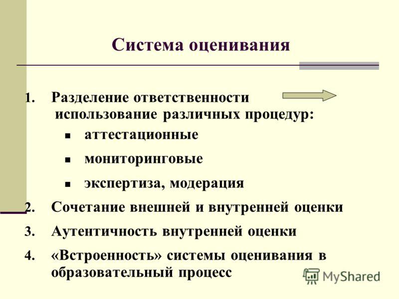 1. Разделение ответственности использование различных процедур: аттестационные мониторинговые экспертиза, модерация 2. Сочетание внешней и внутренней оценки 3. Аутентичность внутренней оценки 4. «Встроенность» системы оценивания в образовательный про