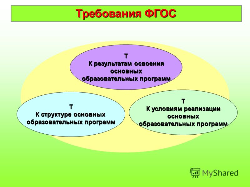 Т К структуре основных образовательных программ Т К результатам освоения основных образовательных программ Т К условиям реализации основных образовательных программ Требования ФГОС