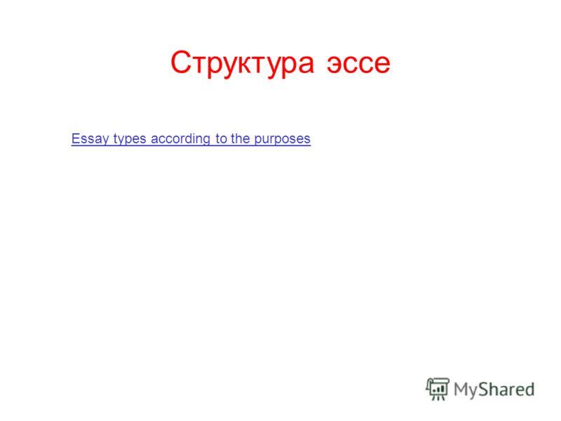 Структура эссе Essay types according to the purposes