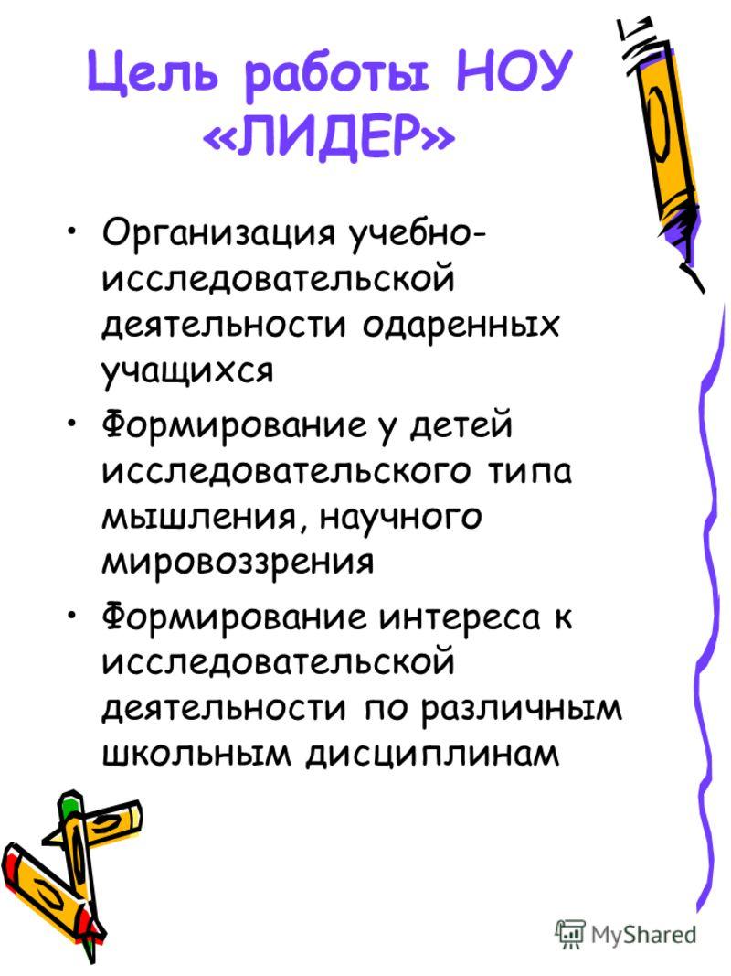 Цель работы НОУ «ЛИДЕР» Организация учебно- исследовательской деятельности одаренных учащихся Формирование у детей исследовательского типа мышления, научного мировоззрения Формирование интереса к исследовательской деятельности по различным школьным д