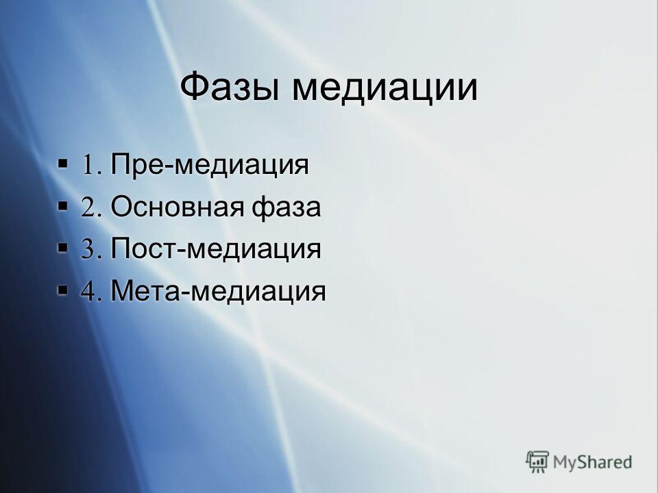 Фазы медиации 1. Пре-медиация 2. Основная фаза 3. Пост-медиация 4. Мета-медиация 1. Пре-медиация 2. Основная фаза 3. Пост-медиация 4. Мета-медиация