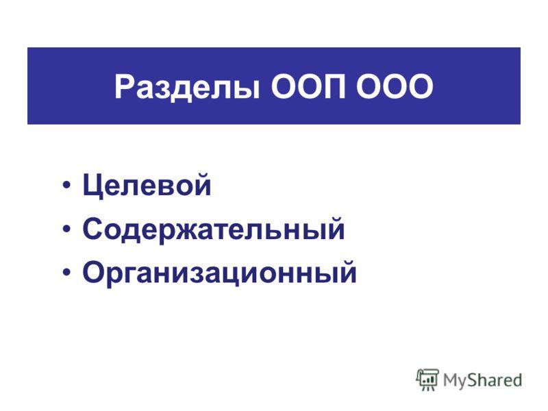 Разделы ООП ООО Целевой Содержательный Организационный