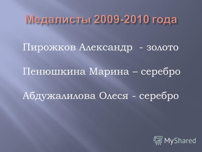 Пирожков Александр - золото Пенюшкина Марина – серебро Абдужалилова Олеся - серебро