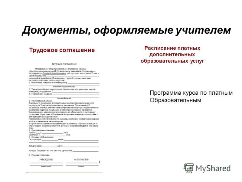 Документы, оформляемые учителем Трудовое соглашение Расписание платных дополнительных образовательных услуг Программа курса по платным Образовательным