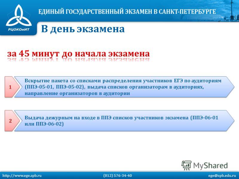 В день экзамена http://www.ege.spb.ru (812) 576-34-40 ege@spb.edu.ru 1 1 Вскрытие пакета со списками распределения участников ЕГЭ по аудиториям (ППЭ-05-01, ППЭ-05-02), выдача списков организаторам в аудиториях, направление организаторов в аудитории 2