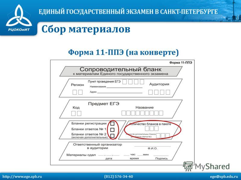 Форма 11-ППЭ (на конверте) Сбор материалов http://www.ege.spb.ru (812) 576-34-40 ege@spb.edu.ru