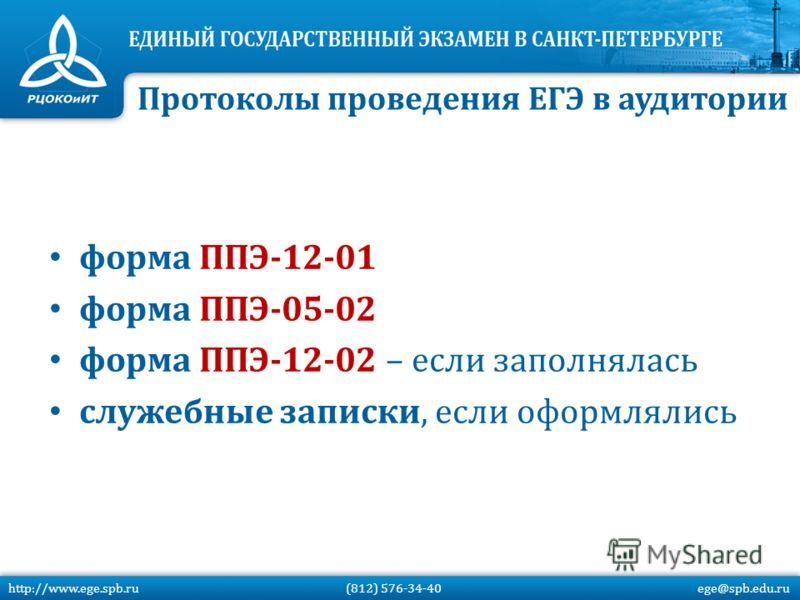 форма ППЭ-12-01 форма ППЭ-05-02 форма ППЭ-12-02 – если заполнялась служебные записки, если оформлялись Протоколы проведения ЕГЭ в аудитории http://www.ege.spb.ru (812) 576-34-40 ege@spb.edu.ru
