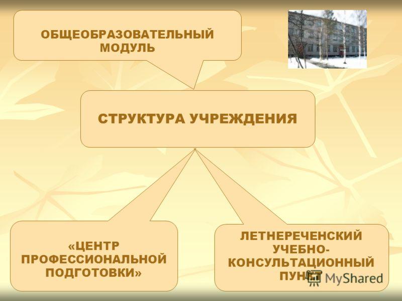 ОБЩЕОБРАЗОВАТЕЛЬНЫЙ МОДУЛЬ «ЦЕНТР ПРОФЕССИОНАЛЬНОЙ ПОДГОТОВКИ» ЛЕТНЕРЕЧЕНСКИЙ УЧЕБНО- КОНСУЛЬТАЦИОННЫЙ ПУНКТ СТРУКТУРА УЧРЕЖДЕНИЯ