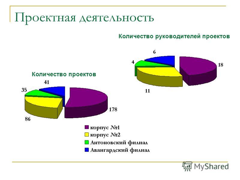 Проектная деятельность Количество проектов Количество руководителей проектов