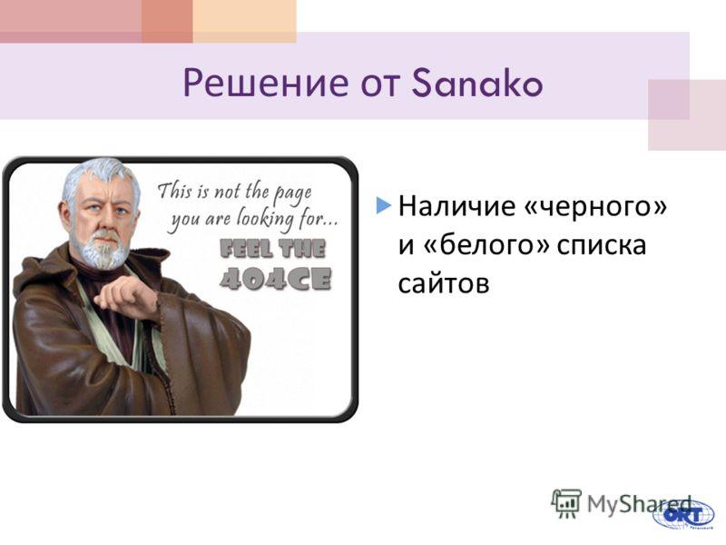 Решение от Sanako Наличие « черного » и « белого » списка сайтов